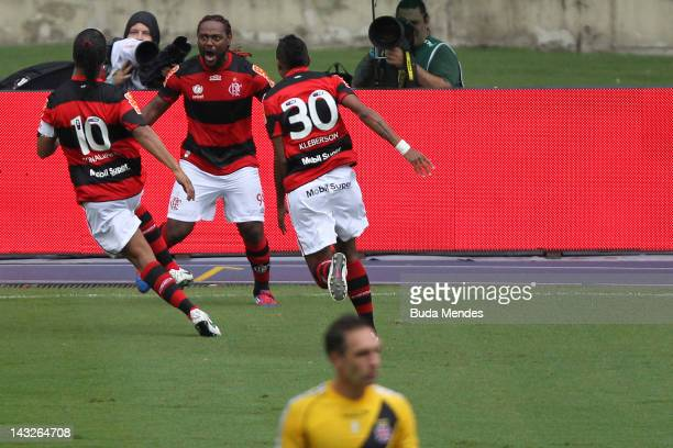 Wagner Love of Flamengo scelebrates a scored goal against Vasco da Gama during a match between Flamengo v Vasco da Gama as part of Semifinal Rio de...