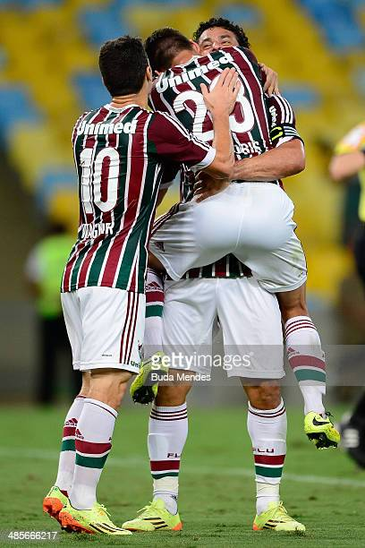 Wagner Rafael Sobis and Fred of Fluminense celebrate a scored goal against Figueirense during a match between Fluminense and Figueirense as part of...