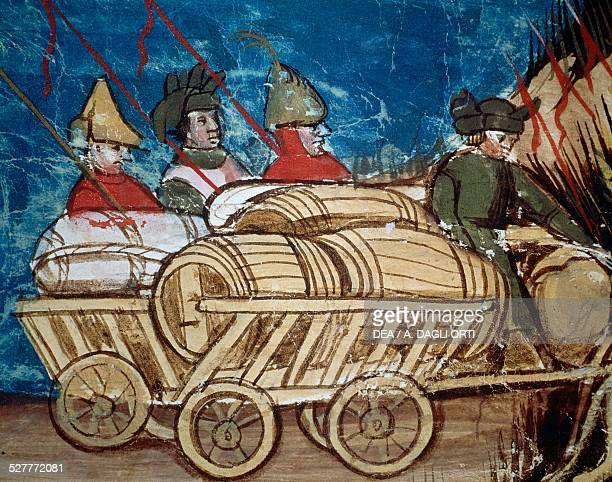 Wagon laden with supplies and barrels of wine detail from an illustration depicting the Army of Charlemagne and Transportation of Provisions from a...