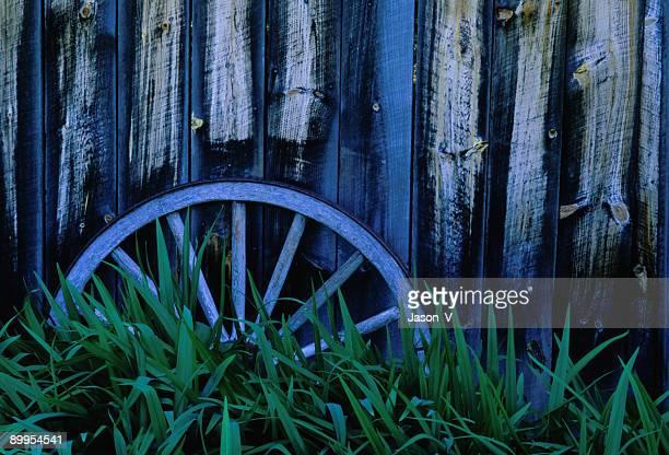 Wagon Wheel by Barn