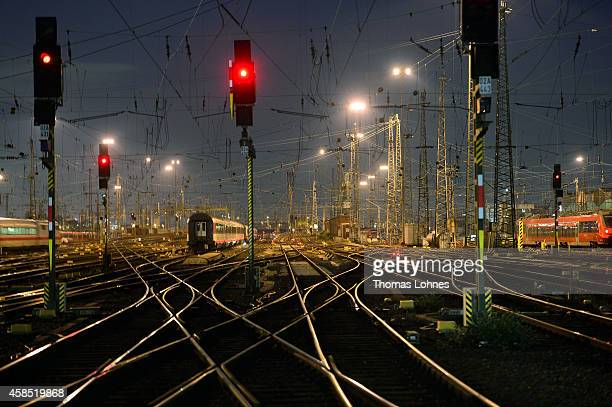 Wagons stand at the rail track at the main railway station during a fourday strike by the GDL train drivers labor union on November 6 2014 in...