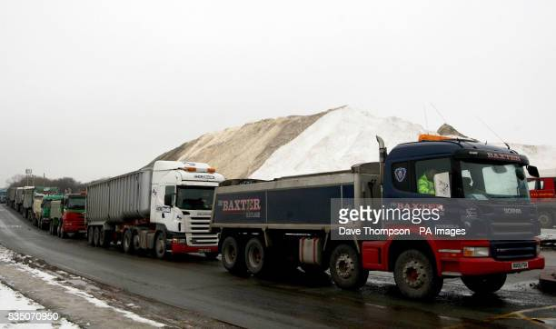 Wagons wait to collect low grade salt from British Salt in Middlewich Cheshire as more snow is expected later today in some parts of the UK