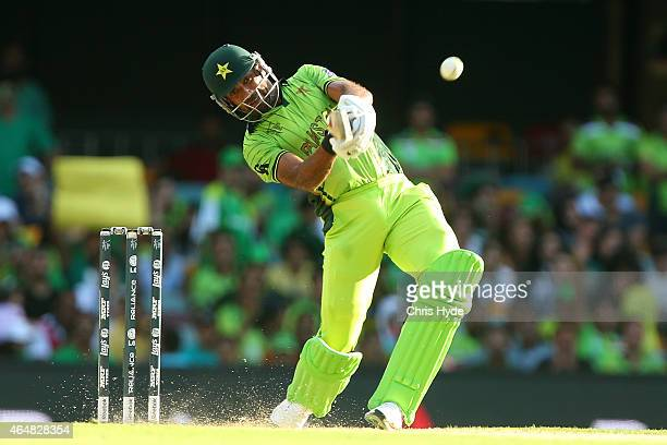 Wahab Riaz of Pakistan bats during the 2015 ICC Cricket World Cup match between Pakistan and Zimbabwe at The Gabba on March 1 2015 in Brisbane...