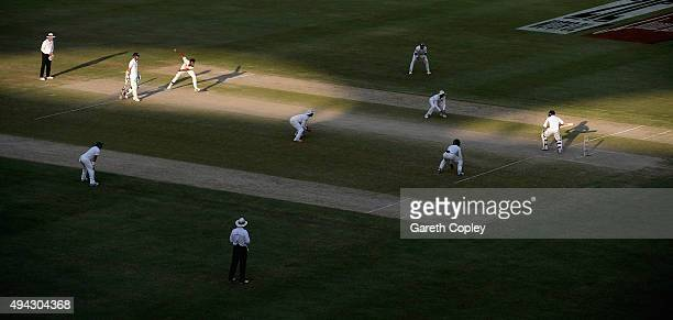 Wahab Riaz of Pakistan bowls to Adil Rashid of England during day five of the 2nd test match between Pakistan and England at Dubai Cricket Stadium on...