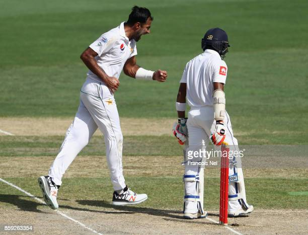 Wahab Riaz of Pakistan celebrate after dismissing Niroshan Dickwella of Sri Lanka during Day Four of the Second Test between Pakistan and Sri Lanka...