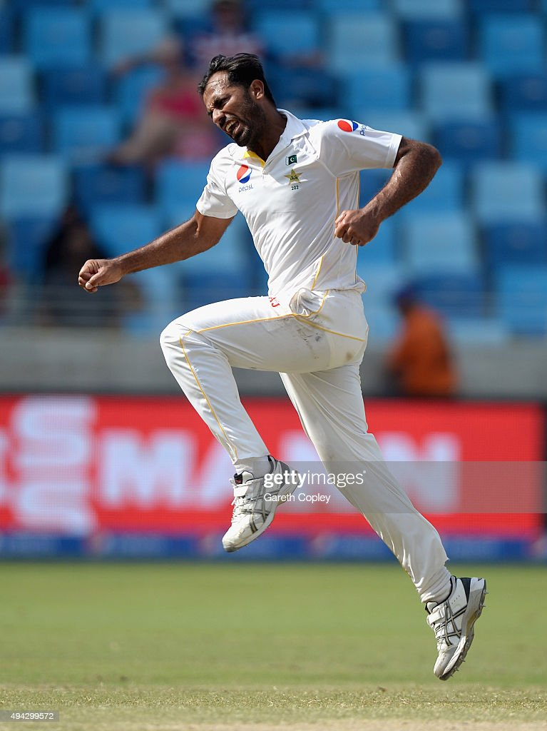 Wahab Riaz of Pakistan celebrates dismissing Stuart Broad of England during day five of the 2nd test match between Pakistan and England at Dubai...