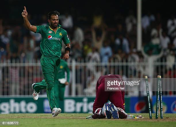 Wahab Riaz of Pakistan celebrates the wicket of Marlon Samuels of West Indies during the first One Day International match between Pakistan and West...