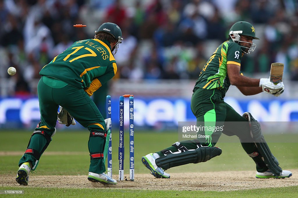 <a gi-track='captionPersonalityLinkClicked' href=/galleries/search?phrase=Wahab+Riaz&family=editorial&specificpeople=4860485 ng-click='$event.stopPropagation()'>Wahab Riaz</a> of Pakistan is bowled by Aaron Phangiso of South Africa during the ICC Champions Trophy Group B match between Pakistan and South Africa at Edgbaston on June 10, 2013 in Birmingham, England.