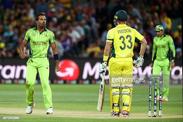 Wahab Riaz of Pakistan reacts to Shane Watson of Australia during the 2015 ICC Cricket World Cup match between Australian and Pakistan at Adelaide...