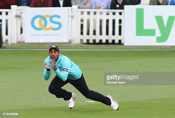 Wahab Riaz of Surrey catches the ball during the NatWest T20 blast match between Surrey and Glamorgan at the Kia Oval Cricket Ground on May 15 2015...
