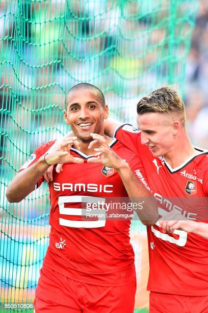 Wahbi Khazri and Benjamin Bourigeaud of Rennes during the Ligue 1 match between AS Saint Etienne and Stade Rennais at Stade Geoffroy Guichard on...