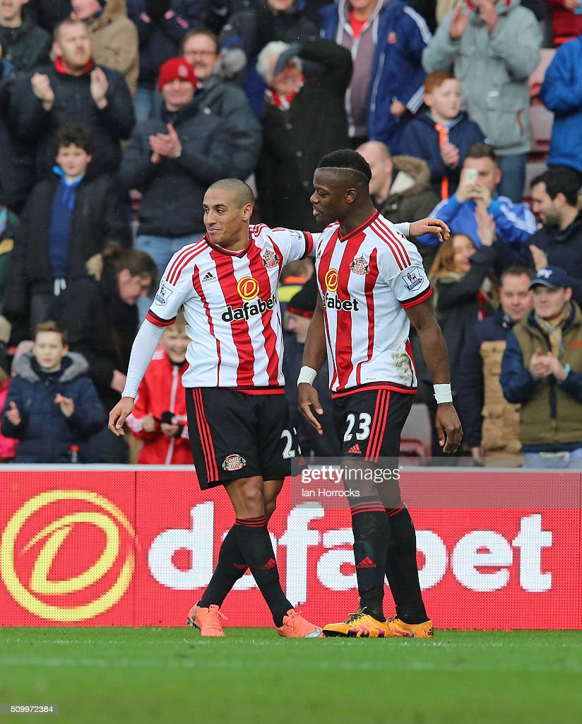 Wahbi Khazri (L) and Lamine Kone celebrate after the second Sunderland goal during the Barclays Premier match between Sunderland and Manchester United at the Stadium of Light on February 13, 2016 in Sunderland, England.