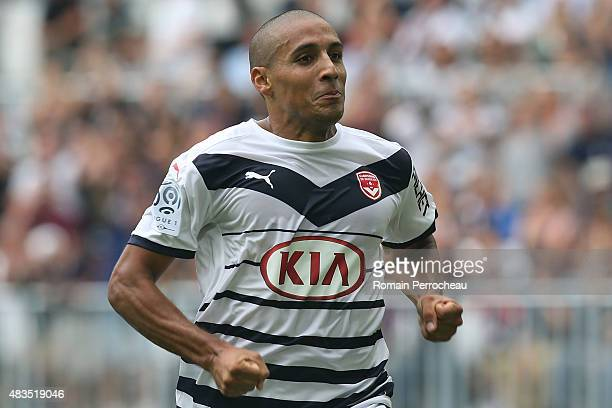 Wahbi Khazri celebrates his goal during the French Ligue 1match between FC Girondins de Bordeaux and Stade de Reims at Nouveau Stade Bordeaux on...
