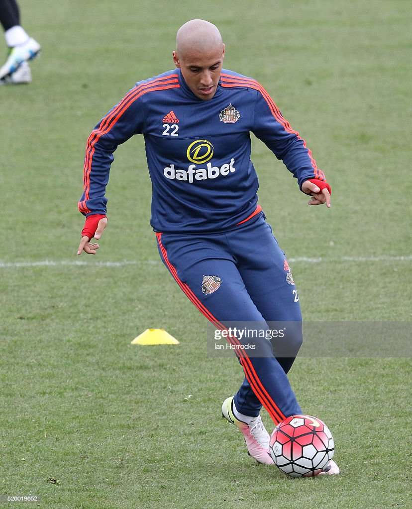 Wahbi Khazri during a Sunderland AFC training session at The Academy of Light on April 29, 2016 in Sunderland, England.