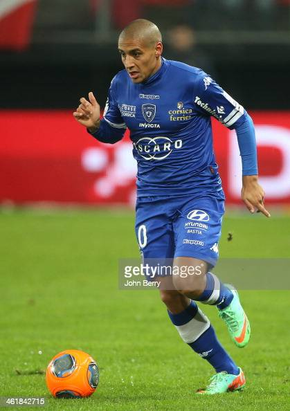 Wahbi Khazri of Bastia in action during the french Ligue 1 match between Valenciennes FC and SC Bastia at the Stade du Hainaut on January 11 2014 in...