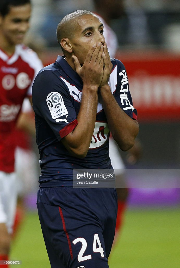 <a gi-track='captionPersonalityLinkClicked' href=/galleries/search?phrase=Wahbi+Khazri&family=editorial&specificpeople=7211185 ng-click='$event.stopPropagation()'>Wahbi Khazri</a> of Bordeaux reacts during the French Ligue 1 match between Stade de Reims and FC Girondins de Bordeaux at the Stade Auguste Delaune on October 3, 2014 in Reims, France.