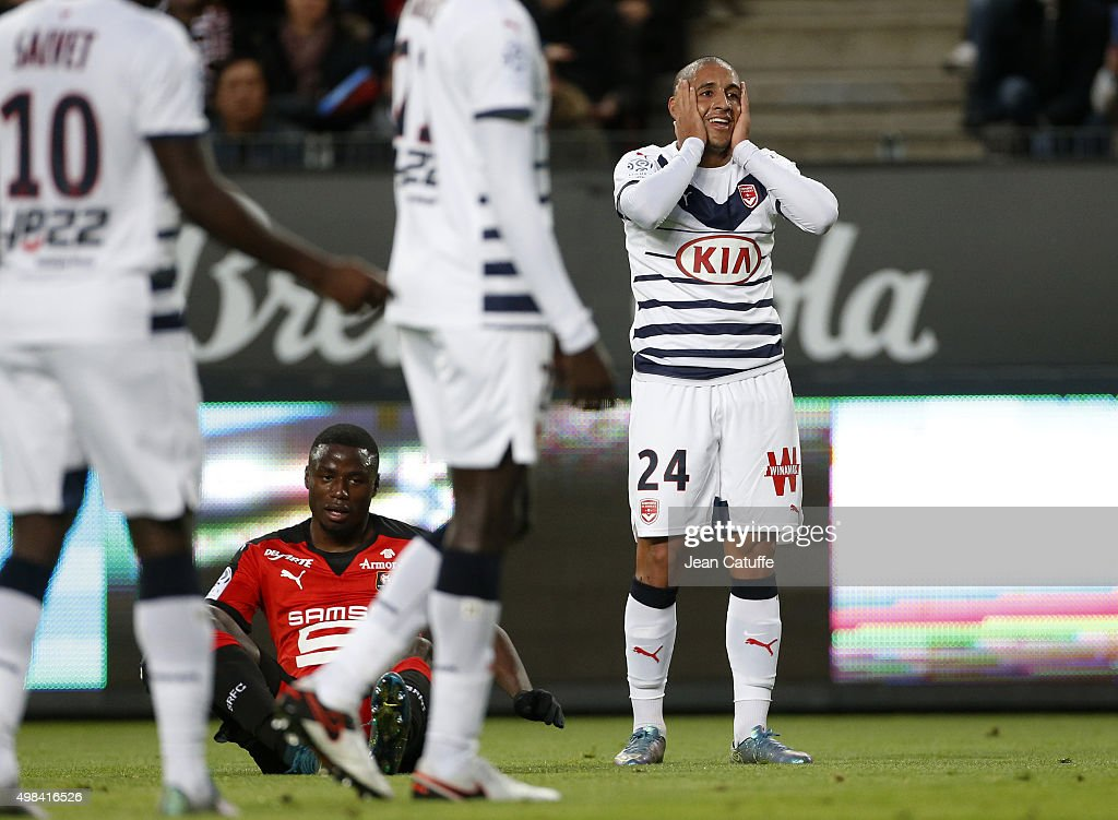 <a gi-track='captionPersonalityLinkClicked' href=/galleries/search?phrase=Wahbi+Khazri&family=editorial&specificpeople=7211185 ng-click='$event.stopPropagation()'>Wahbi Khazri</a> of Bordeaux reacts during the French Ligue 1 match between Stade Rennais (Rennes) and Girondins de Bordeaux at Roazhon Park stadium on November 22, 2015 in Rennes France.