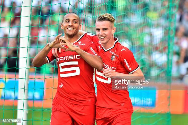 Wahbi Khazri of Rennes and Benjamin Bourigeaud of Rennes celebrates during the Ligue 1 match between AS SaintEtienne and Stade Rennais at Stade...