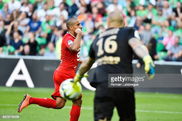 Wahbi Khazri of Rennes celebrates after scoring during the Ligue 1 match between AS SaintEtienne and Stade Rennais at Stade GeoffroyGuichard on...