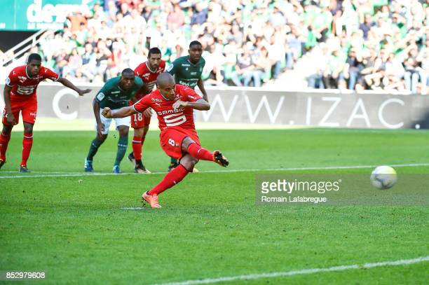 Wahbi Khazri of Rennes celebrates kicks a penalty a scores during the Ligue 1 match between AS SaintEtienne and Stade Rennais at Stade...