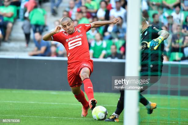 Wahbi Khazri of Rennes during the Ligue 1 match between AS SaintEtienne and Stade Rennais at Stade GeoffroyGuichard on September 24 2017 in...