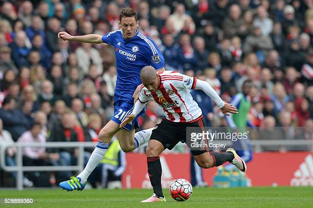 Wahbi Khazri of Sunderland and Nemanja Matic of Chelsea compete for the ball during the Barclays Premier League match between Sunderland and Chelsea...