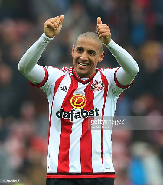Wahbi Khazri of Sunderland celebrates at full time during the Barclays Premier League match between Sunderland and Chelsea at The Stadium of Light on...