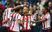 Wahbi Khazri of Sunderland celebrates scoring his team's first goal with his team mates during the Barclays Premier League match between Sunderland...