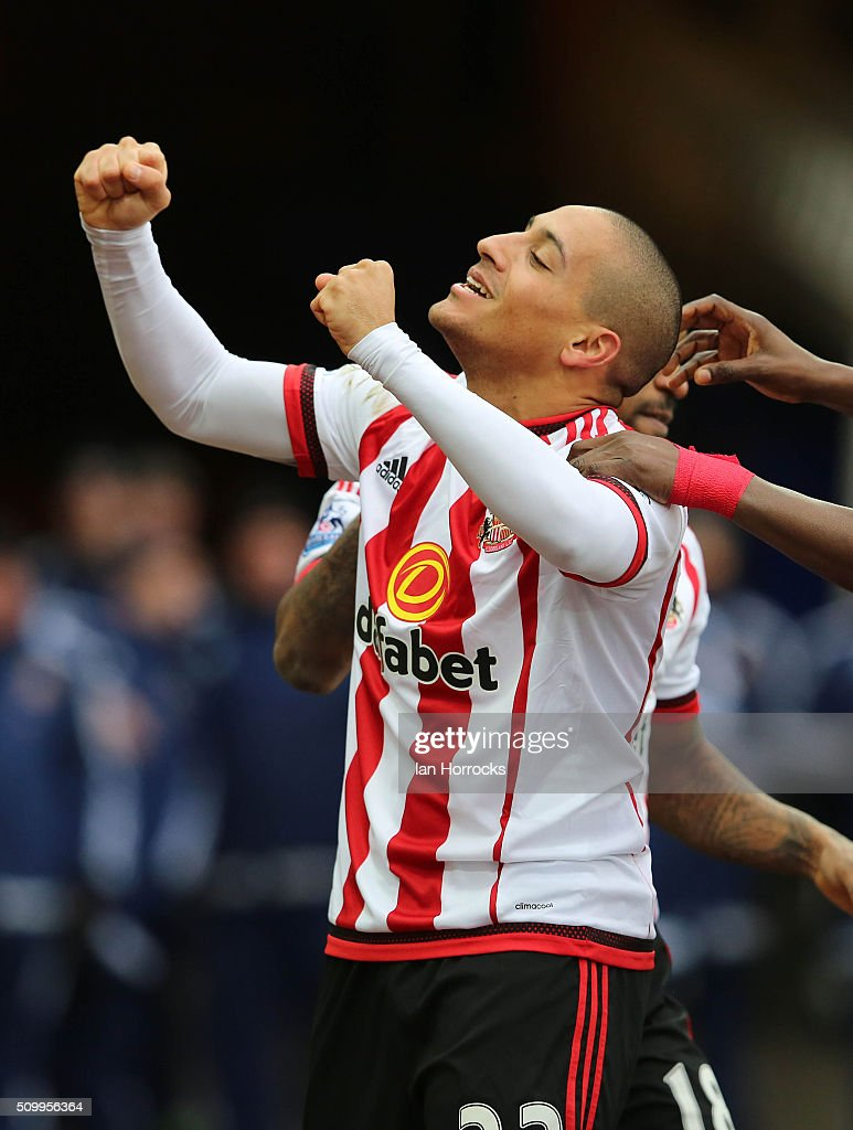 Wahbi Khazri of Sunderland celebrates the first goal during the Barclays Premier match between Sunderland and Manchester United at the Stadium of Light on February 13, 2016 in Sunderland, England.