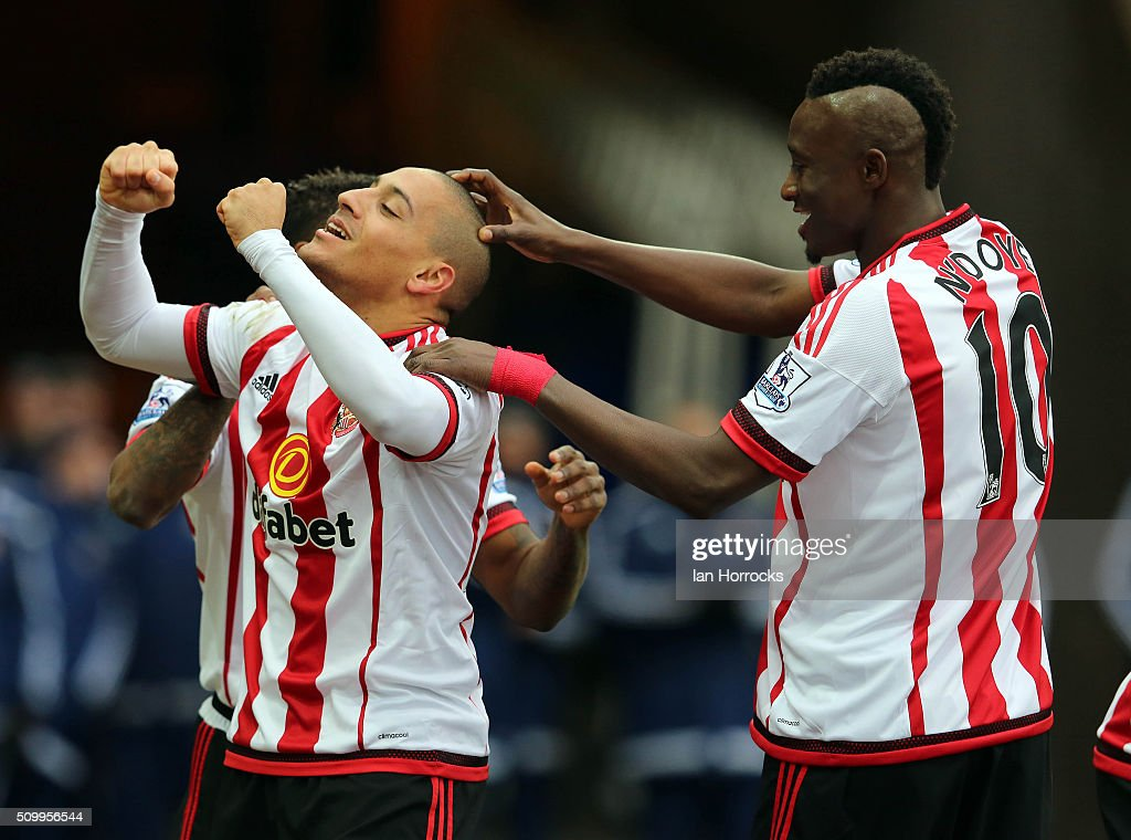 Wahbi Khazri of Sunderland (L)celebrates the first goal during the Barclays Premier match between Sunderland and Manchester United at the Stadium of Light on February 13, 2016 in Sunderland, England.