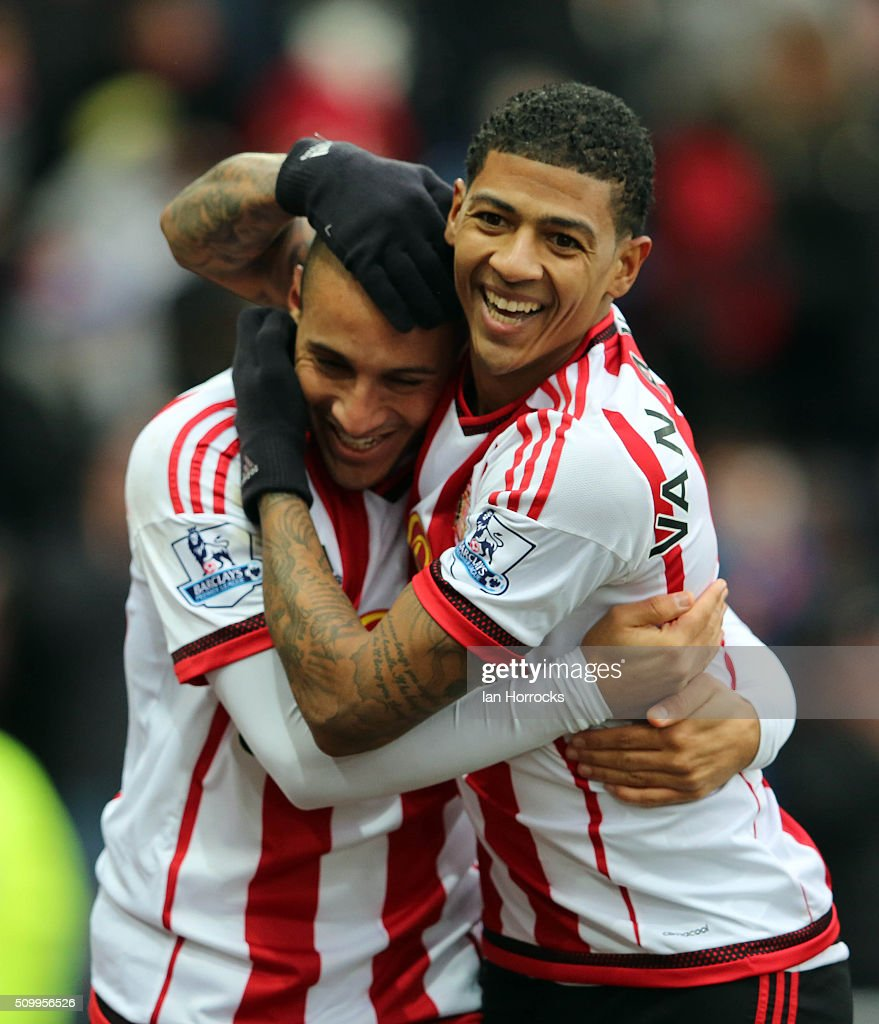 Wahbi Khazri of Sunderland (L) celebrates the first goal with Patrick Van Aanholt during the Barclays Premier match between Sunderland and Manchester United at the Stadium of Light on February 13, 2016 in Sunderland, England.