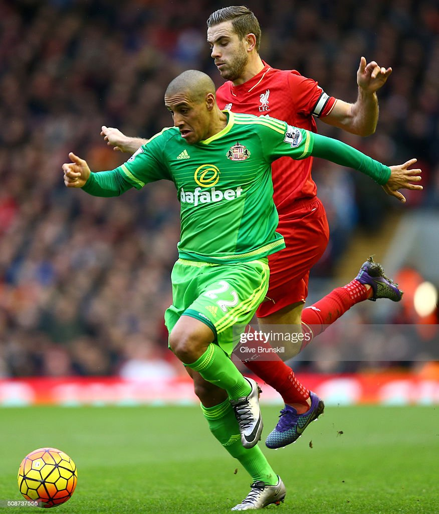 Wahbi Khazri of Sunderland controls the ball under pressure of <a gi-track='captionPersonalityLinkClicked' href=/galleries/search?phrase=Jordan+Henderson&family=editorial&specificpeople=4940390 ng-click='$event.stopPropagation()'>Jordan Henderson</a> of Liverpool during the Barclays Premier League match between Liverpool and Sunderland at Anfield on February 6, 2016 in Liverpool, England.