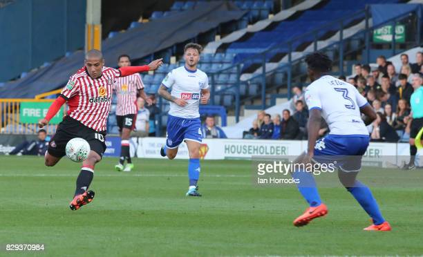 Wahbi Khazri of Sunderland has a shot during the Carabao Cup First Round match between Bury and Sunderland at Gigg Lane on August 10 2017 in Bury...