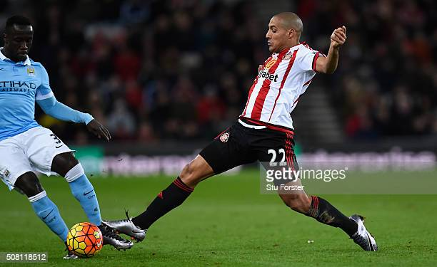 Wahbi Khazri of Sunderland in action during the Barclays Premier League match between Sunderland and Manchester City at the Stadium of Light on...
