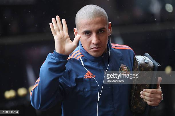 Wahbi Khazri of Sunderland is seen on arrival at the stadium prior to the Barclays Premier League match between Sunderland and West Bromwich Albion...