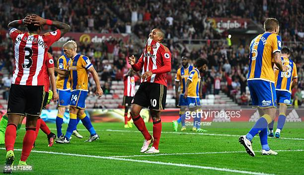 Wahbi Khazri of Sunderland reacts after failing to score during the EFL Cup second round match between Sunderland and Shrewsbury Town at Stadium of...