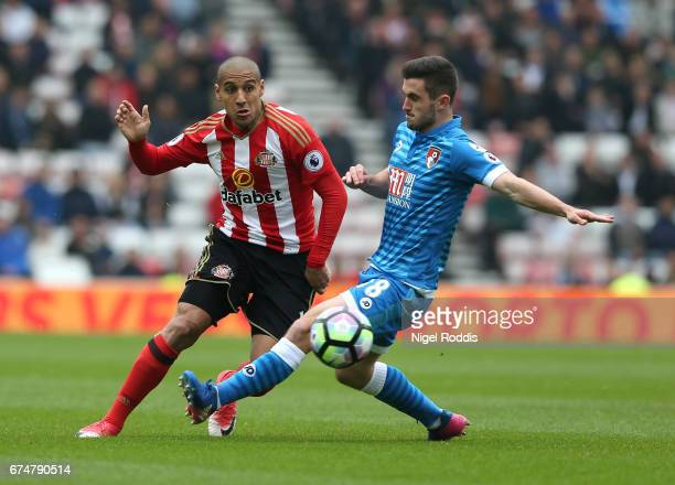 Wahbi Khazri of Sunderland takes on Lewis Cook of AFC Bournemouth during the Premier League match between Sunderland and AFC Bournemouth at the...