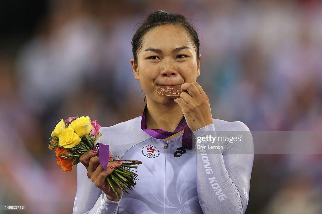 Wai Sze Lee of Hong Kong, China celebrates with her bronze medal during the medal ceremony for the Women's Keirin Track Cycling final on Day 7 of the London 2012 Olympic Games at Velodrome on August 3, 2012 in London, England.