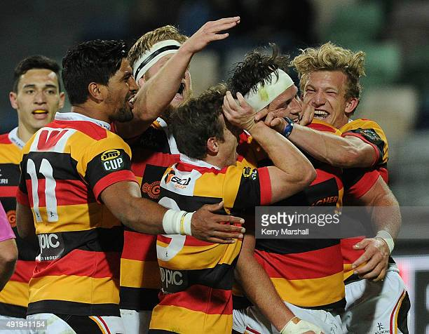 Waikato celebrate a try by Josh Hohneck during the round nine ITM Cup match between Hawke's Bay and Waikato on October 9 2015 in Napier New Zealand