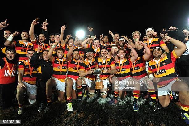 Waikato celebrate after winning the Jock Hobbs Memorial Under 19 Rugby Graham Mourie Cup Final Waikato v Auckland A on September 21 2016 at Owen...