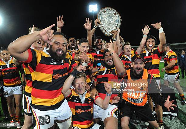 Waikato celebrate with the Ranfurly Shield following the round nine ITM Cup match between Hawke's Bay and Waikato on October 9 2015 in Napier New...