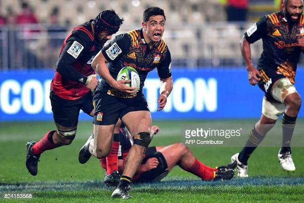 Waikato Chiefs' Anton LienertBrown runs with the ball during their Super Rugby semifinal match between the Canterbury Crusaders and Waikato Chiefs at...