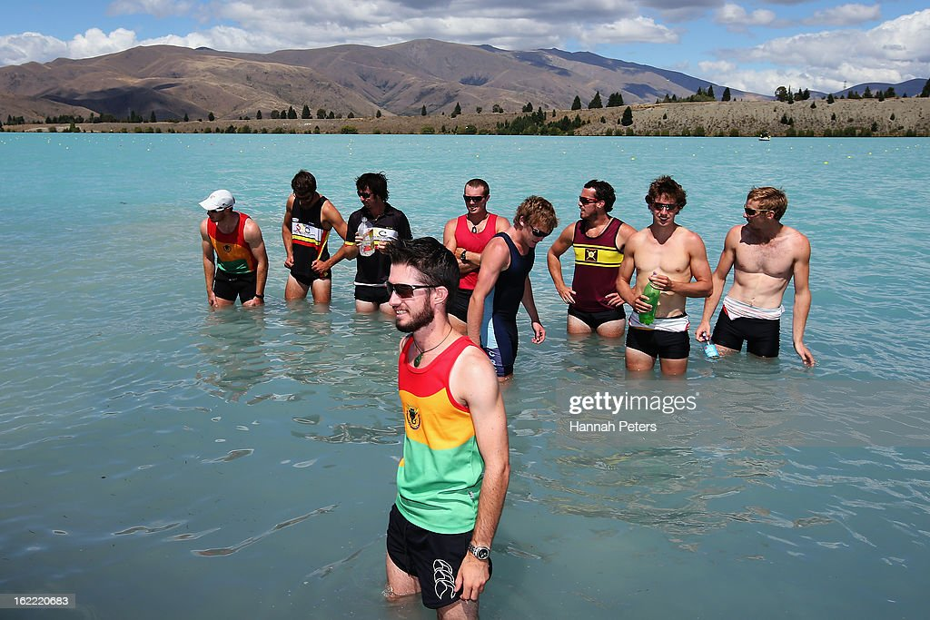 Waikato cool off in the lake after winning the Men's U22 8 final during day three of the New Zealand Rowing Championships at Lake Ruataniwha on...