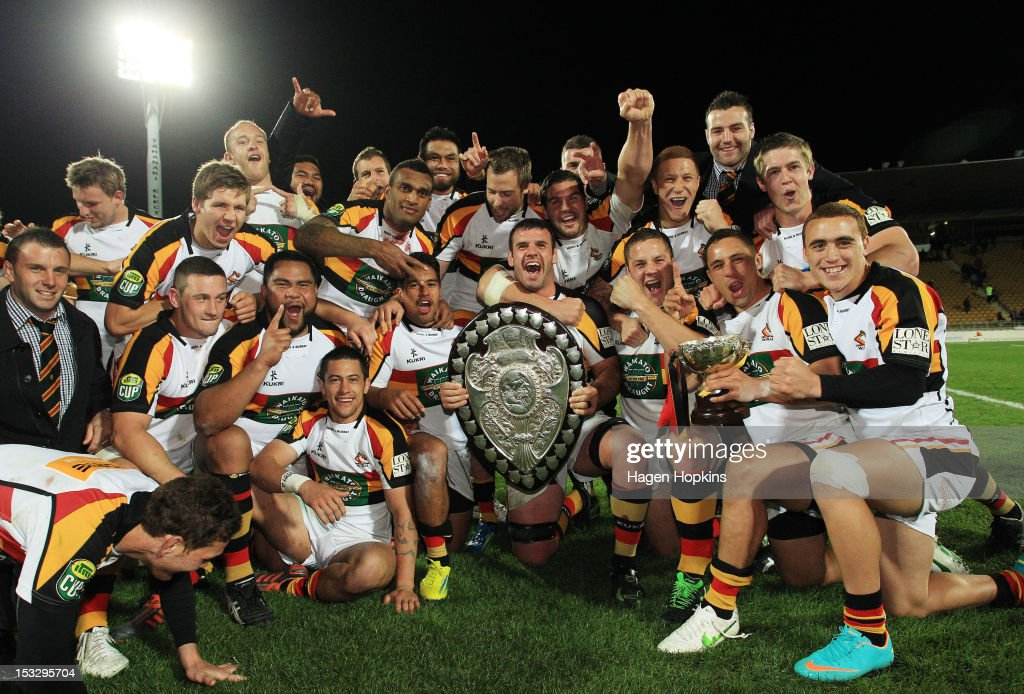 Waikato players celebrate after winning the Ranfurly Shield during the round twelve ITM Cup match between Taranaki and Waikato at Yarrow Stadium on...