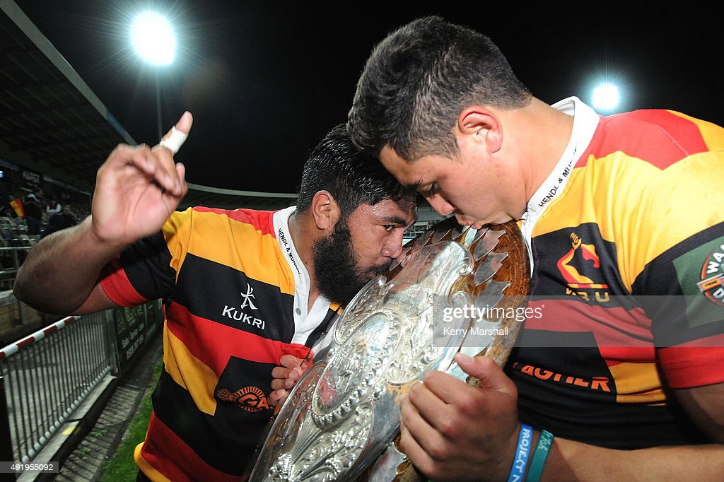 Waikato players celebrate with the Ranfurly Shield following the round nine ITM Cup match between Hawke's Bay and Waikato on October 9 2015 in Napier...