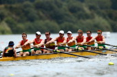 Waikato RPC 1 compete in the final of the mens under22 coxed eight during the Bankstream New Zealand Rowing Championships at Lake Karapiro on...