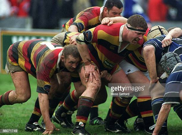 Waikato's Paul Martin with Nick Holten on the flank pack down against Wanganui in the Ranfurly Shield Challenge at the Tokoroa Memorial Park Saturday...