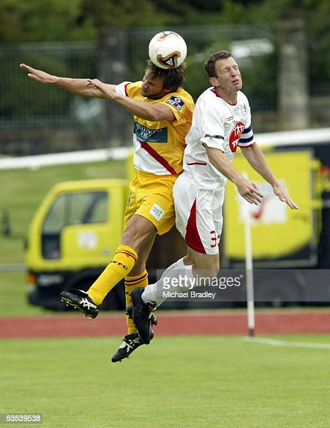 Waikato's Scott Cassie and Waitakere United's Sean Douglas compete during their NZFC soccer match played at Waitakere Stadium Auckland New Zealand...