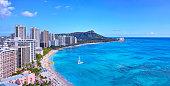 Panoramic view of Hawaii's Waikiki Beach