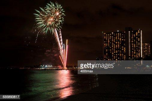 Waikiki Fireworks : Stock Photo